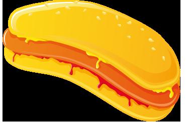 TENSTICKERS. マスタード&ケチャップホットドッグデカール. ウォールステッカー-デカール-ホットドッグのベクトルイラストは、マスタードとケチャップの黄金の黄色いパンで覆われています。