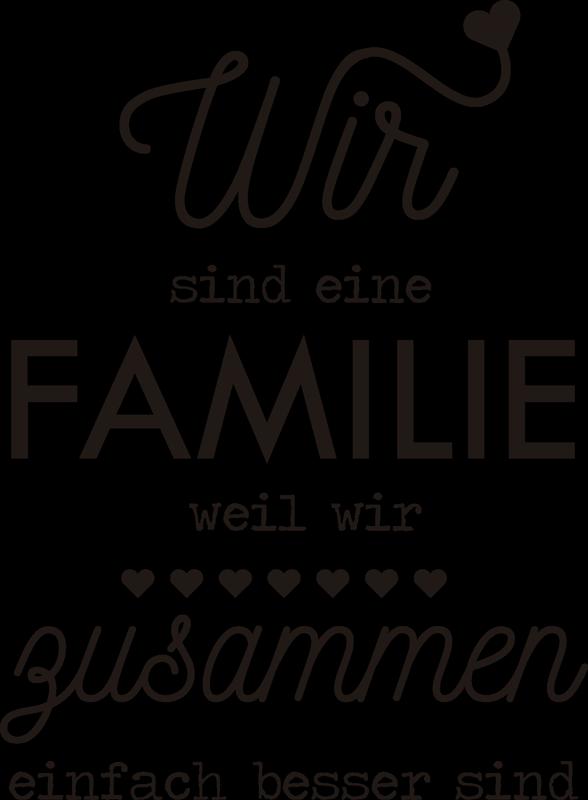 TenStickers. Wandtattoo Spruch Familie. Deutscher Spruch für die Wand der den Familienzusammenhalt unterstreicht. Passt in jedes Wohnzimmer gut und ist einfach wieder zu entfernen.