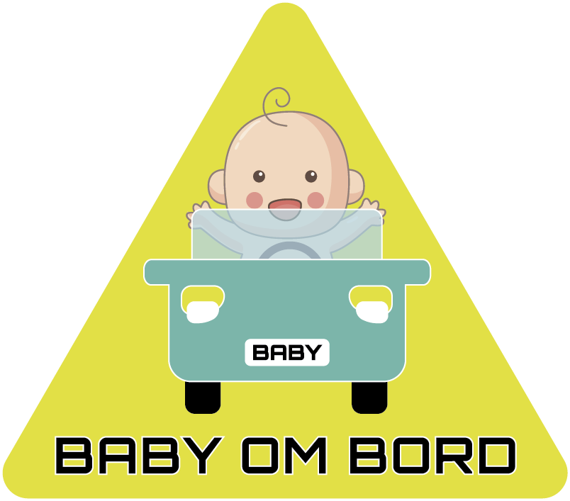 Tenstickers. Bil baby ombord klistremerke. Få bilen din til å se morsommere og unik ut med denne babyen om bord-klistremerket! Dette produktet viser et bilde av en baby som kjører en liten bil