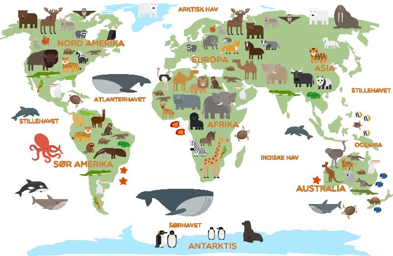 Tenstickers. Dyr barn verdens kart vegg klistremerke. Hvis du vil dekorere barnerommet ditt, gjør det med dette fantastiske verdenskartet-klistremerke som viser alle verdensdeler med mange dyr
