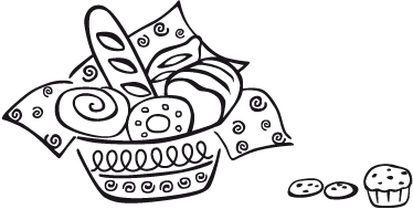 TenStickers. Pastry Basket Kitchen Decal. Kitchen Wall Stickers - Illustration of a basket of baked good that includes bread, bagels, baguettes and more. Used in homes and businesses such as cafes and bakeries.