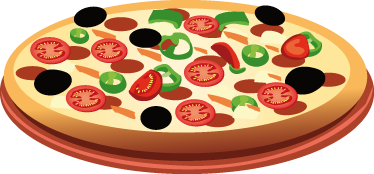 TenStickers. Tomatoe Pizza Wall Decal. Wall Stickers - Decals - Vector illustration of a thin based pizza topped with black olives, meat, cheese and tomatoes. Ideal for homes or businesses