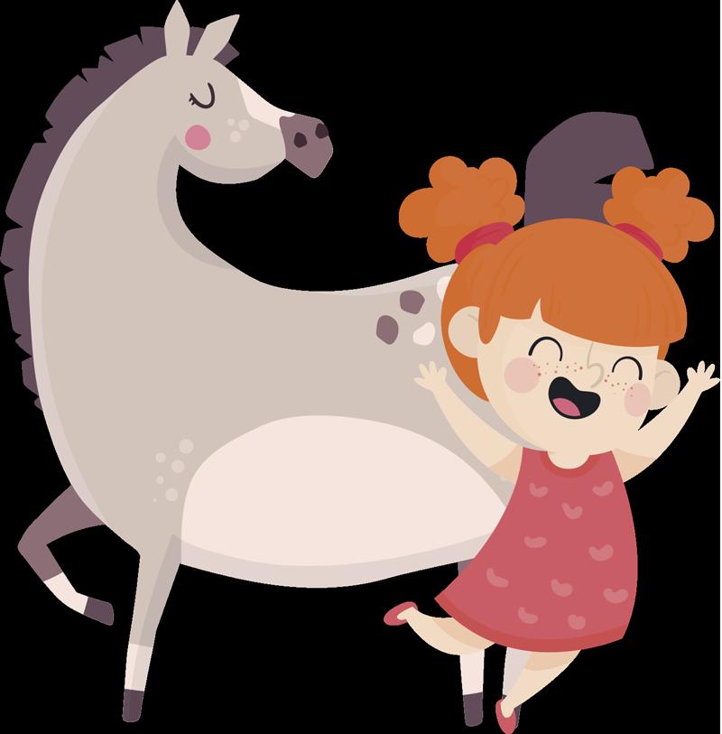 """TenVinilo. Vinilo decorativo dibujo Pippi Calzaslargas. Pegatina infantil formada por el dibujo de """"Pippi Calzaslargas"""" acompañada de su caballo de lunares """"El pequeño Tío"""". Envío Express en 24/48h."""