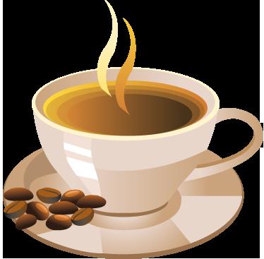 TenStickers. Wandtattoo Kaffeetasse und Kaffebohnen. Wunderschönes Wandtattoo für die Küche Kaffeetasse und Kaffeebohnen für einen perfekten Start in den Tag