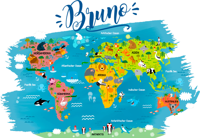 TenStickers. Personalisierter Wandtattoo Weltkarte Kinder. Personalisierte Weltkarte für Kinder. Es werden zu allen Kontinenten und Meeren die passenden Tiere abgebildet. Schöne Farben für das Kinderzimmer