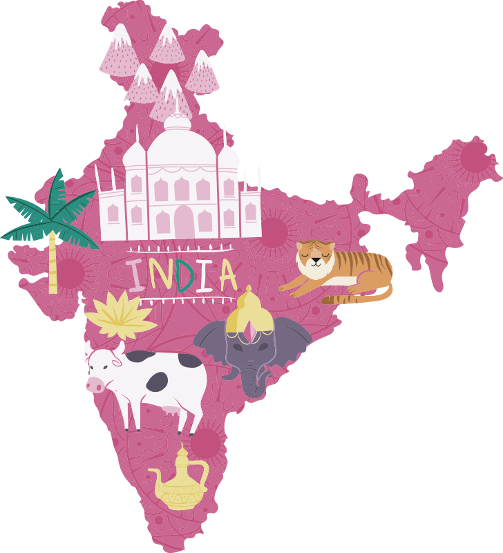 TenStickers. India Map Sticker. Show me all children the PC and magic of India with this incredible cartoon India map sticker. Choose from a wide range of sizes!