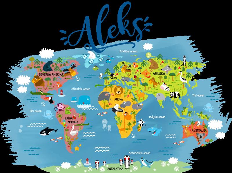 TenStickers. Zemljevid živalskega sveta z imenom v nalepki stenske stene. Otroška stenska nalepka na spalnem zemljevidu sveta z imenom glavnih živali vsake celine in oceana v slovaškem jeziku s prilagojenim imenom.