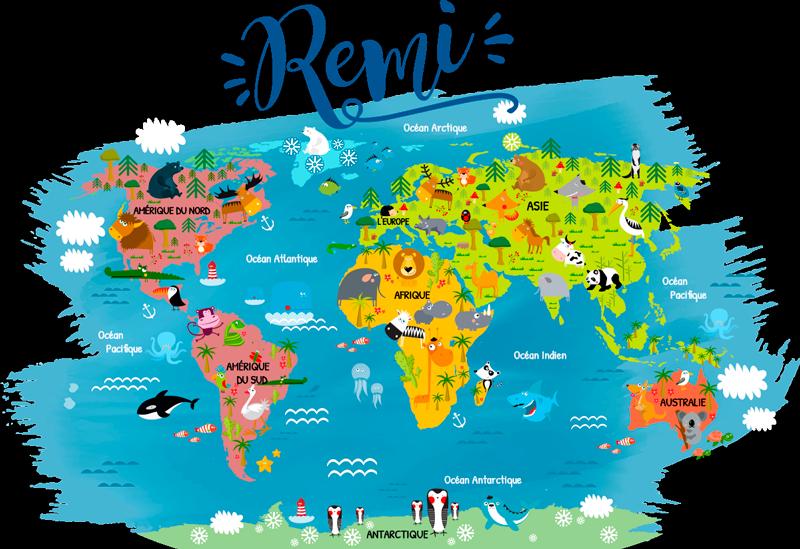 TenStickers. Sticker Chambre Enfant Mappemonde animaux du monde. Évadez vous et partez à la conquête du monde avec ce sticker mappemonde animaux du monde et son design personalisable avec le prénom de votre enfant.
