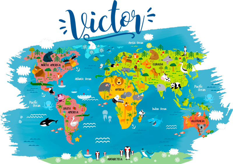 TenStickers. Personalised World Map Kids Sticker. Start educating your children of the world around them with this amazing personalised cartoon world map sticker. Worldwide delivery!