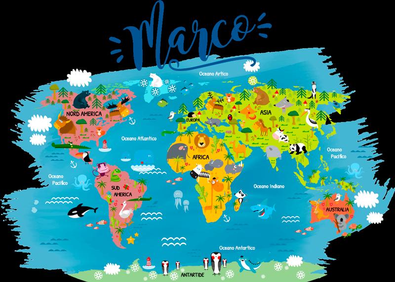 TenStickers. Sticker cameretta mappamondo con nome. Scopri questo adesivo personalizzato, con un mappamondo colorato e dei disegni di animaletti. Potrai personalizzarlo con il nome del tuo bimbo.