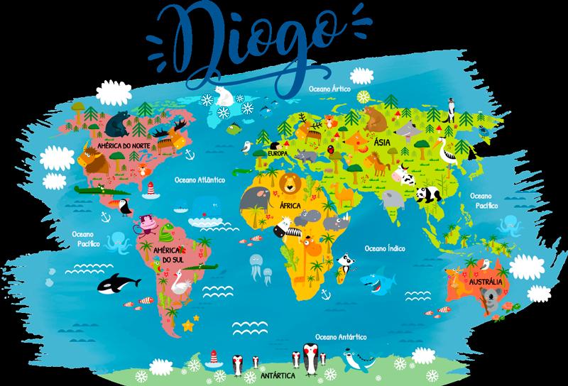 TenStickers. Autocolantes lugares Mapa mundo com animais. Autocolante decorativo infantil mapa mundo com animais é a forma perfeita para os seus pequenos iniciarem o seu conhecimento em geografia mundial.