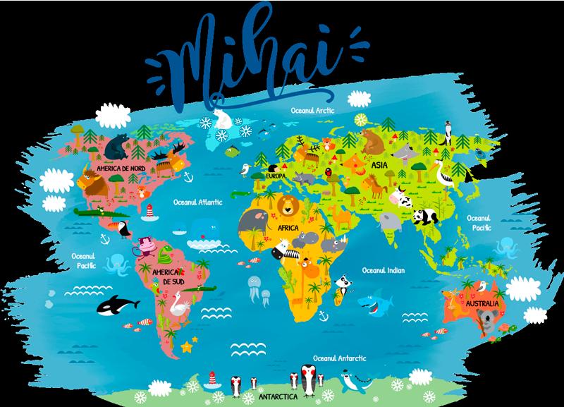 TenStickers. Hartă mondială cu nume în autocolant de perete românesc. Autocolant de perete pentru dormitor pentru copii, harta lumii, completat cu numele principalelor animale din fiecare continent și ocean în limba română cu nume personalizat.