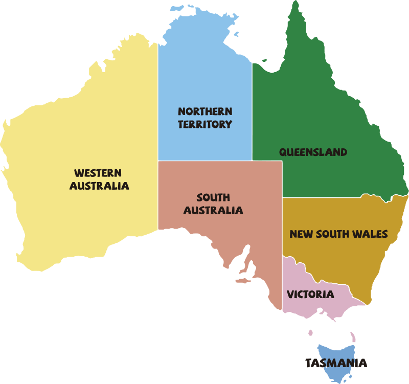 TenStickers. Australia States Wall Sticker. Start learning your Australian States today with this amazing political Australia map sticker. Worldwide delivery available!