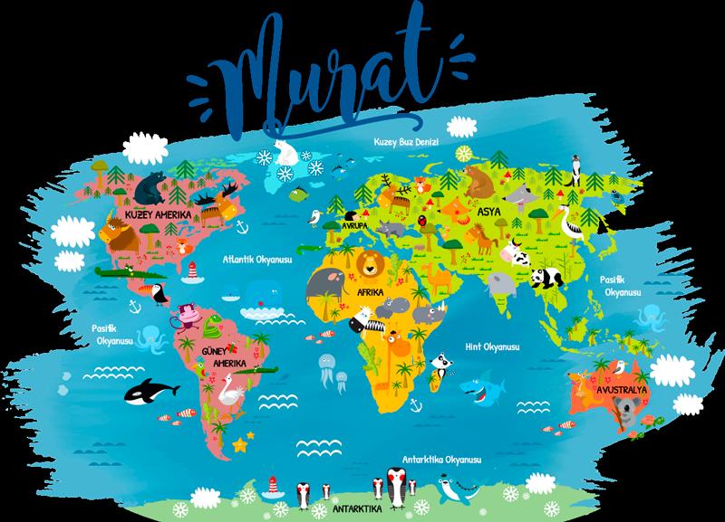 TenStickers. Türkçe duvar çıkartmasıyla dünya haritası. Dünya haritasının çocuk odası duvar çıkartması, her kıtadaki ana hayvanların ve okyanusun türkçe isimleri ile doldurulur.