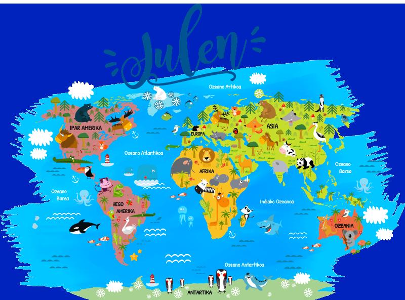 TenVinilo. Vinilo pared Mapamundi Animal con nombre en vasco. Vinilo infantil con el dibujo de un mapamundi personalizado con los nombres de continentes y océanos en vasco. Compra Online Segura y Garantizada.