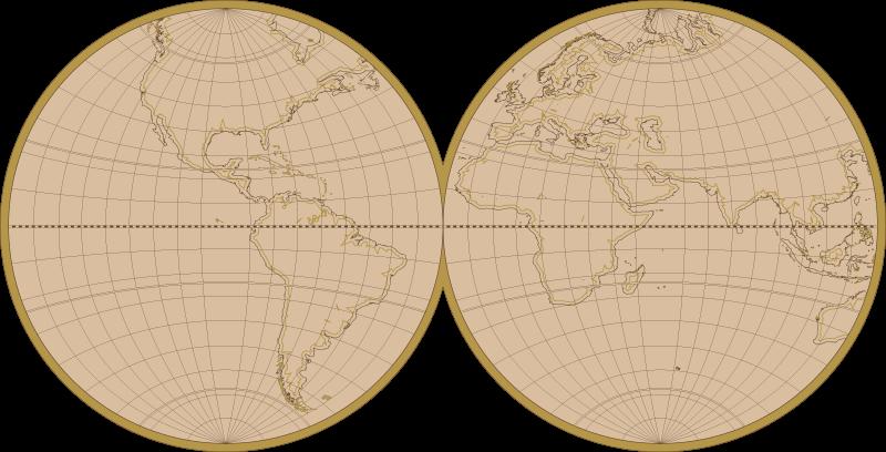 TenStickers. Aufkleber Weltkarte Vintage. Wandtattoo Weltkarte welches die Erde halbiert ind zwei Kreisen mit den Umrissen der Kontinente zeigt. In schlichten Farben, ideal für jeden Raum