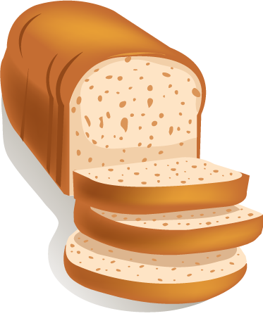 TenStickers. Sliced Fresh Bread Wall Decal. Wall Stickers - Decals - Vector illustration of a freshly baked sliced bread loaf ready to eat.