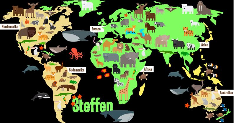 TenStickers. Personalisierter Aufkleber Weltkarte Tiere Kinder. Wandtattoo Weltkarte personalisiert mit Namen, perfekt geeignet für das Kinderzimmer! Abgebildet sind die Tiere in den passenden Ländern und Meeren.