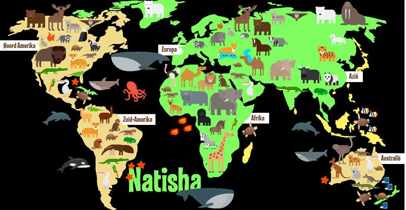 TenStickers. Muurstickers kinderkamer Wereldkaart met dieren en naam. Deze gepersonaliseerde dieren muursticker is een mooie decoratie voor in de kamer van uw kind of dochter waar de naam en maat zelf kan worden bepaald.