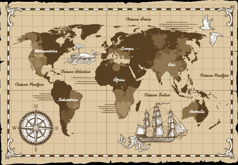 TenVinilo. Vinilo pared planisferio vintage. Mural de mapamundi en un color beige envejecido y con un estilo muy vintage, con los nombres de los continentes y océanos. Envío Express en 24/48h.