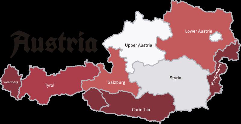 TenStickers. Wandtattoo für Zuhause Weltkarte Österreich. Wandtattoo der Landkarte Österreichs. Es sind alle Bundesländer dieses schönen Landes abgebildet und der Aufkleber ist in den Farben der Flagge.