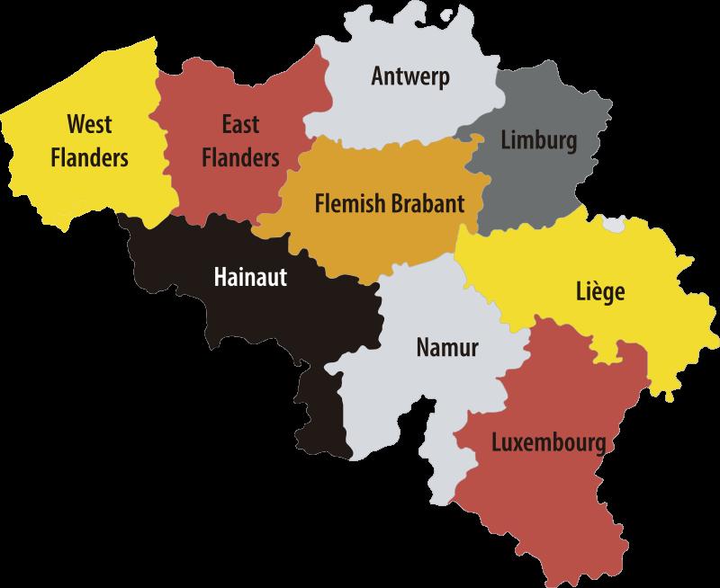 TenStickers. Sticker Maison carte régions belgique. Exprimez votre amour pour la Belgique et affichez sa carte avec le nom des  différentes régions dans tous vos espaces avec ce sticker décoratif carte.