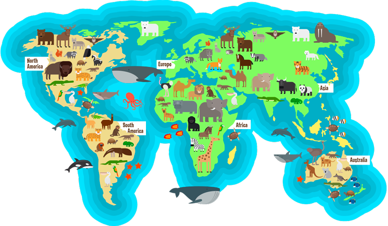 TenStickers. Cartoon Animal World Map Sticker. teach your children of the world around them with this amazing cartoon animal world map sticker. Worldwide delivery available!