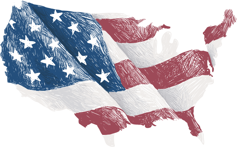 TenStickers. USA Flag Map Sticker. Show your friends, family and the world just how patriotic you really are with this amazing US flag map sticker. Choose from a range of sizes!