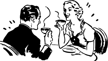 TenStickers. Adesivo decorativo coppia bevendo caffè. Sticker decorativo che raffigura marito e moglie mentre bevono un caffè e chiacchierano animatamente.