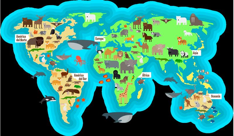 TenVinilo. Vinilo mapamundi Animal Fauna con Oceano. Colorido vinilo formado por el diseño de un mapamundi en acaba mate con los animales típicos de cada zona. Vinilos Personalizados a medida.