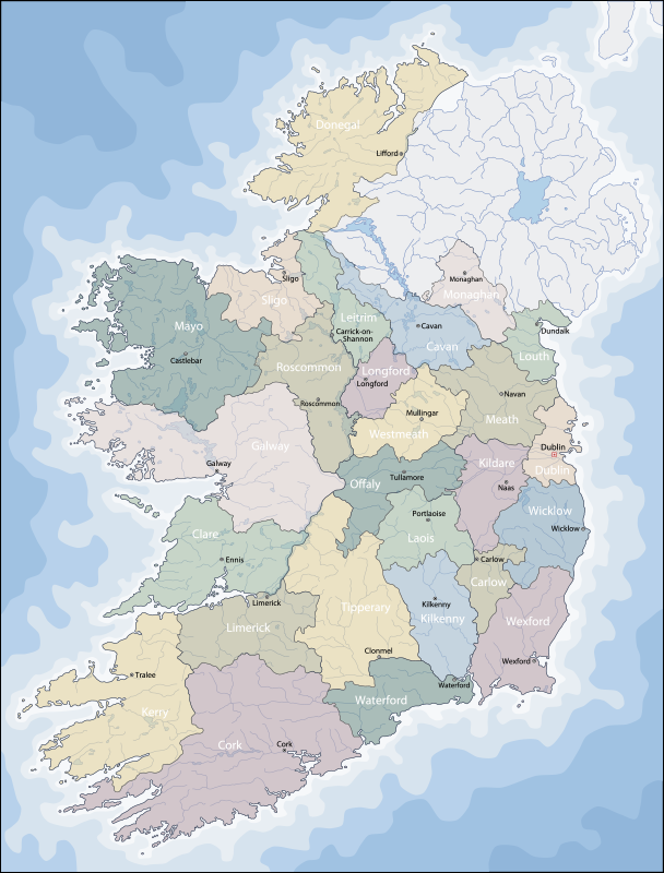 TenStickers. Ireland Political Map sticker. Bring the beauty of your favorite country into your home with this amazing Island political map sticker. Worldwide delivery available!
