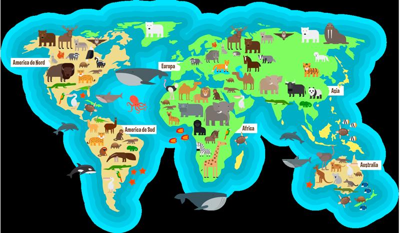 TenStickers. Animal fauna harta lumii romane harta lumii harta autocolant. Autocolant de perete pentru dormitor pentru copii, harta mondială a faunei animale cu numele continentelor și oceanelor în limba română. Material extrem de îndelungat.