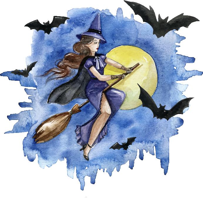 TenStickers. Naklejka na ścianę halloween czarownica. Naklejka na ścianę na święto Halloweenprzedstawia czarownicę lecącą na miotle w otoczeniu nietoperzy i przy blasku księżyca.