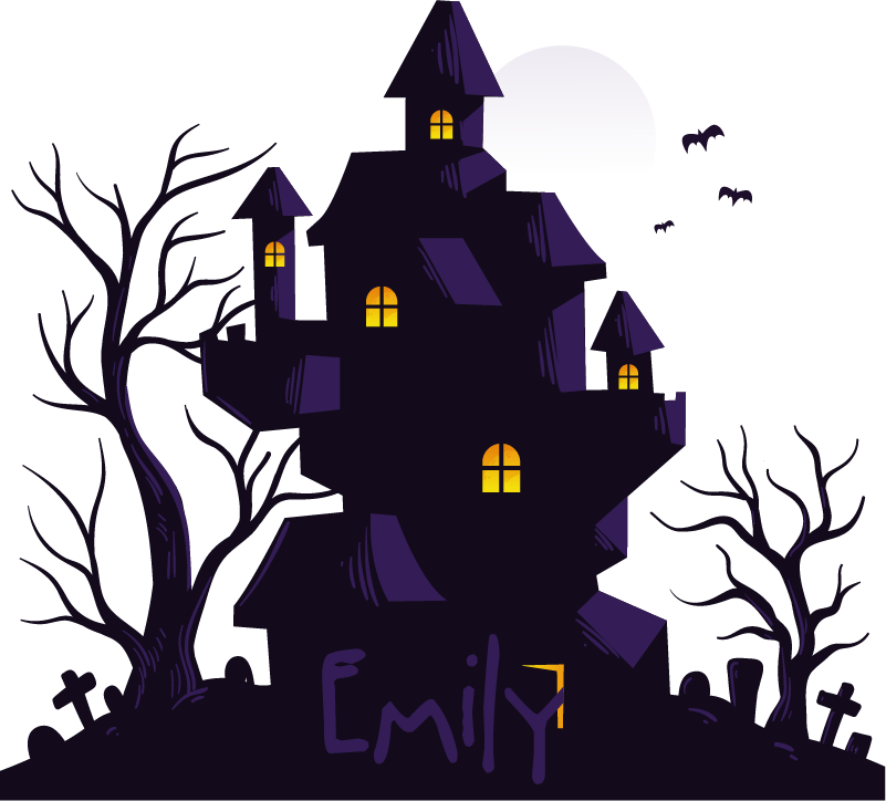 TenStickers. Haunted house with name halloween wall sticker. Decorative wall decal of a Halloween festival house designed with a colorful style with a personalisable name. Provide the name you want for it.