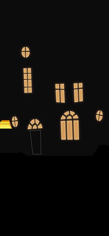 TenStickers. Halloween stickers huis met licht. Deze halloween sticker is gemakkelijk op te plakken op veel verschillende plekken in huis. Het bestaat uit een huis dat is verlicht van binnen.