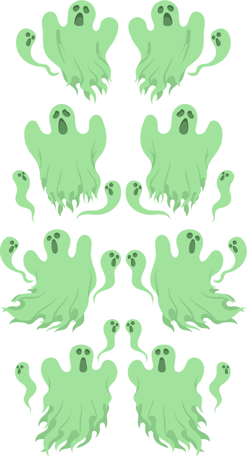 TenStickers. Green ghosts Home Wall Sticker. These ghost Halloween wall stickers will definitely scare some people on Halloween. These scary decals are available in a variety of sizes.