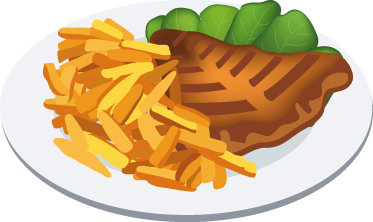TenStickers. Beef Steak & Chips Wall Decal. Wall Stickers - Decals - Illustration of a succulent and tasty slice of steak with chips and vegetables.