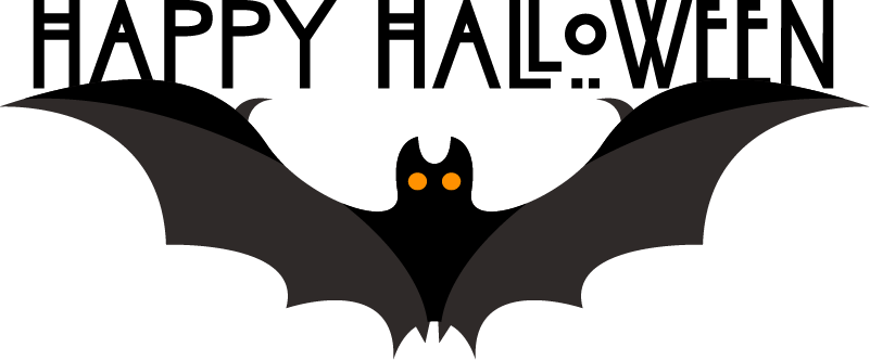 """TenVinilo. Vinilo para casa murciélago feliz halloween. Pegatina de """"Feliz Halloween"""" con un murciélago para decorar de una forma original cualquier estancia o superficie que desees. Envío exprés 24/72h."""