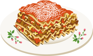 TenStickers. Meat Lasagna Plate Decal. Wall Stickers - Decals - Illustration of a succulent and tasty meat lasagna. Ideal for homes or businesses such as cafes and restaurants.