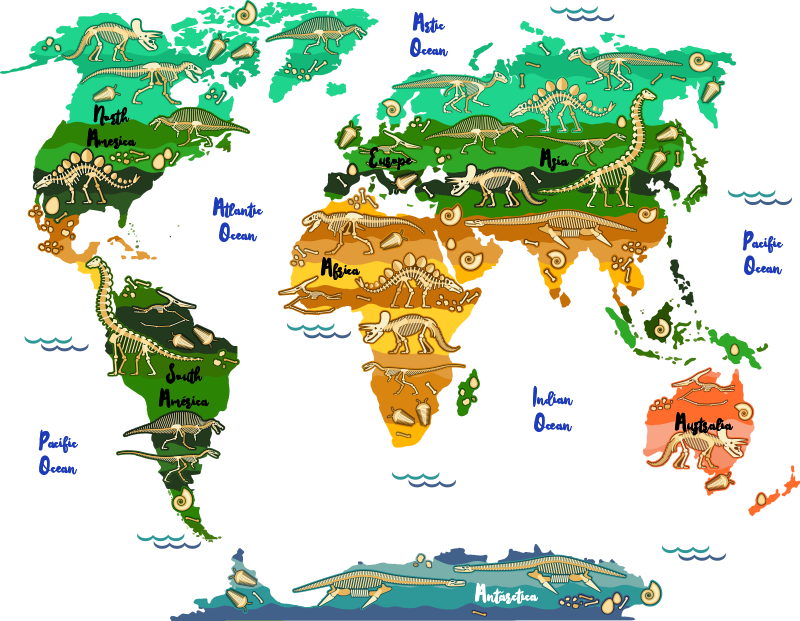 TenStickers. Dinosaur  world map sticker. What kid doesn't love dinosaurs? We know when we were kids we would've all loved this world map sticker for kids. Easy to apply! Bubble proof!