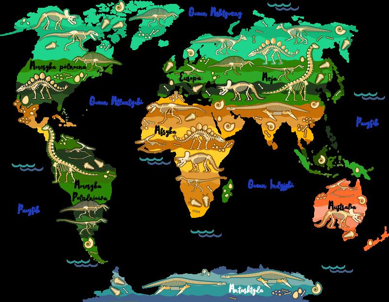TenStickers. Naklejka na ścianę dla dzieci mapa świata z dinozaurami. Naklejka mapa świataprzedstawia szkielety dinozaurów w poszczególnych miejscach na świecie, idealna naklejka dla dzieci!