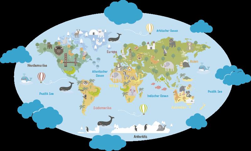 TenStickers. Wandtattoo für Zuhause Weltkarte mit Wolken. Welt Wandtattoo in einer ovalen Form mit Wölkchen umrundet. Auf jedem Kontinent sind die einheimischen Tiere und Sehenswürdigkeiten abgebildet.