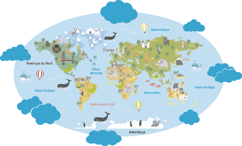 TenStickers. Sticker carte du monde planisphère enfants français. stickers muraux facile à appliquer avec des illustrations de la plénisphère française dessus. Son idéal pour l'espace des enfants et toute surface plane.