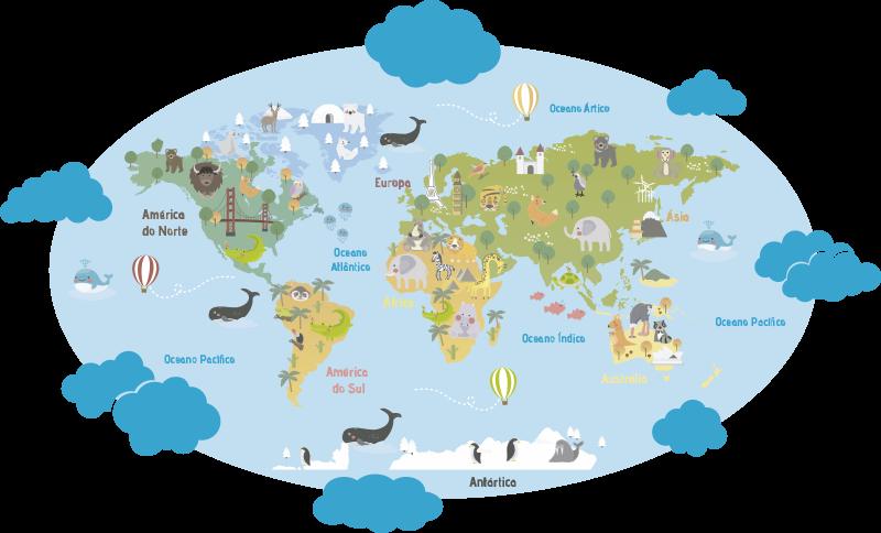 TenStickers. Autocolante mundo Planisfério Infantil Português. Autocolante para quarto infantil de animais selvagens idealizado para alimentar a mente dos pequenos curiosos da sua casa.