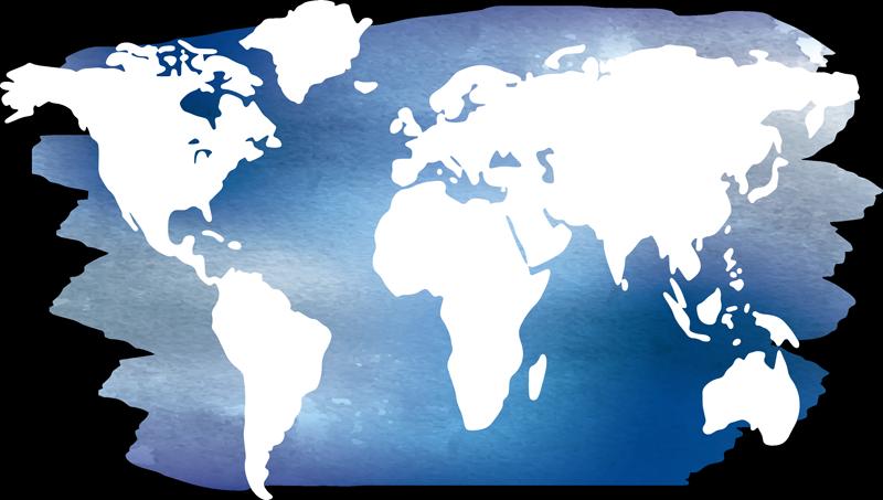 TENSTICKERS. 青い水彩画の世界地図の世界のステッカー. 地理的なタッチであなたの壁のスペースを飾るための装飾的な世界地図の壁のステッカー。この製品は、必要なサイズの任意のメジャーで利用できます。