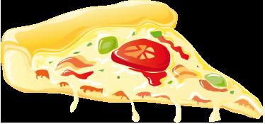 TENSTICKERS. トマトとチーズのピザスライスデカール. ウォールステッカー-デカール-ダブルチーズ、オリーブ、ベーコン、トマトのピザのスライスのイラスト。