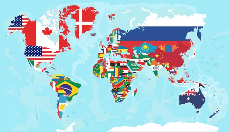 TENSTICKERS. フラグ世界地図ステッカー. 異なる旗の色表現で世界地図の場所世界地図ステッカーデザイン。デザインは簡単に適用でき、高品質のビニール製です。