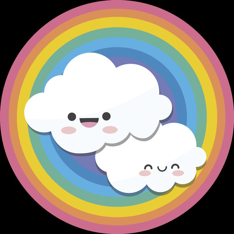 TENSTICKERS. 子供たちの虹と雲のイラストデカール. 子供の寝室の装飾のための子供の虹と雲のステッカー。必要なサイズのデザインがあり、簡単に適用できます。