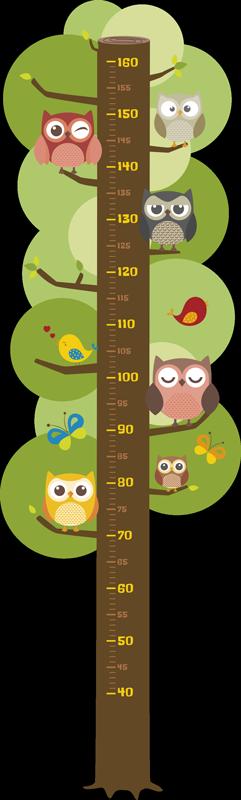 TENSTICKERS. 子供のメーターフクロウ高さチャートデカール. チャートの垂直面に沿って木の枝にさまざまなフクロウが描かれた子供用の動物の身長チャートステッカー。
