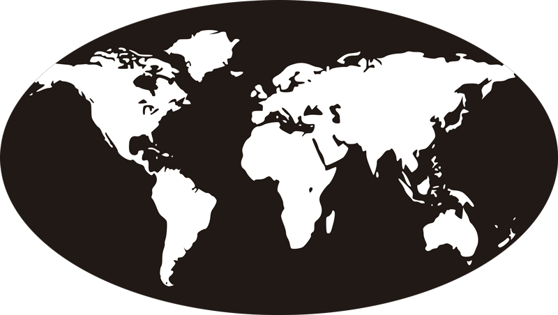 TENSTICKERS. 簡略化されたスタイルの世界地図デカール. 黒い楕円形の背景に作成された場所の世界地図ステッカーデザイン。デザインは任意のスペースで装飾的であり、簡単に適用できます。